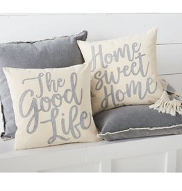 MUD PIE GOOD LIFE CANVAS & FELT PILLOWS
