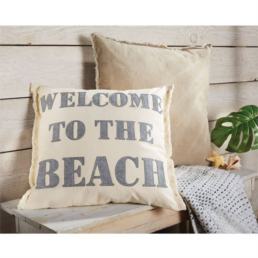 MUD PIE WELCOME TO THE BEACH CANVAS & FELT PILLOW