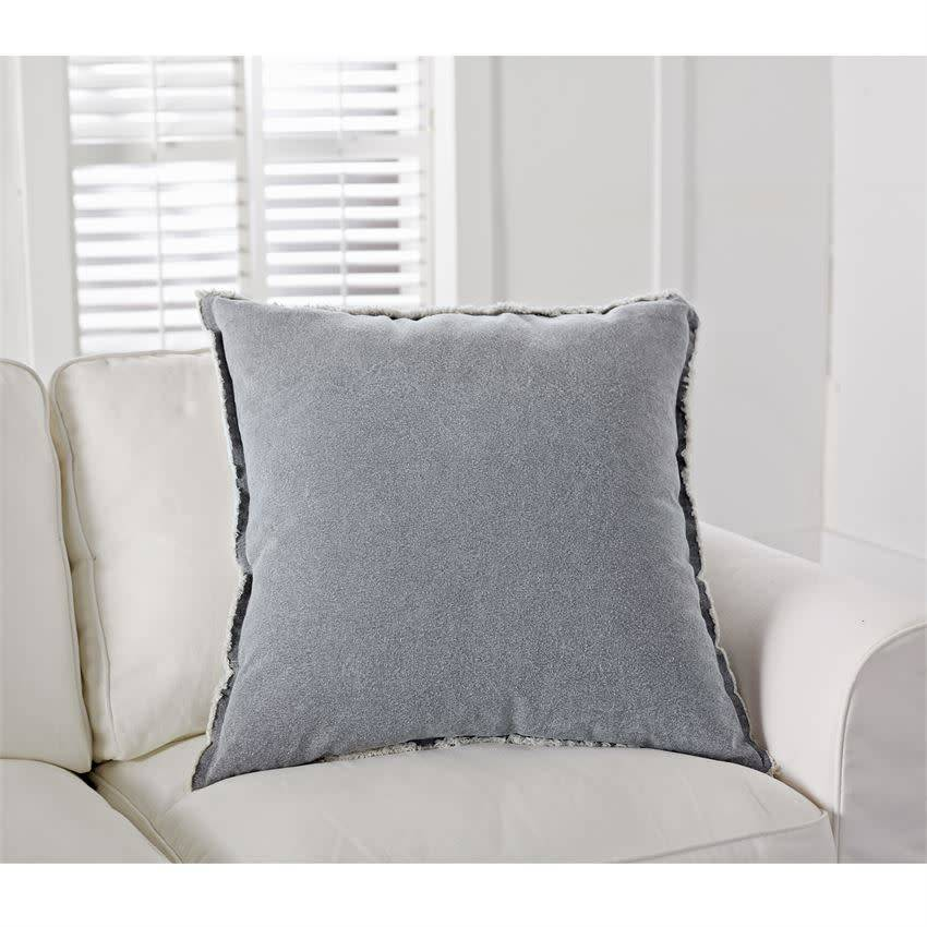 MUD PIE GRAY WASHED CANVAS PILLOW