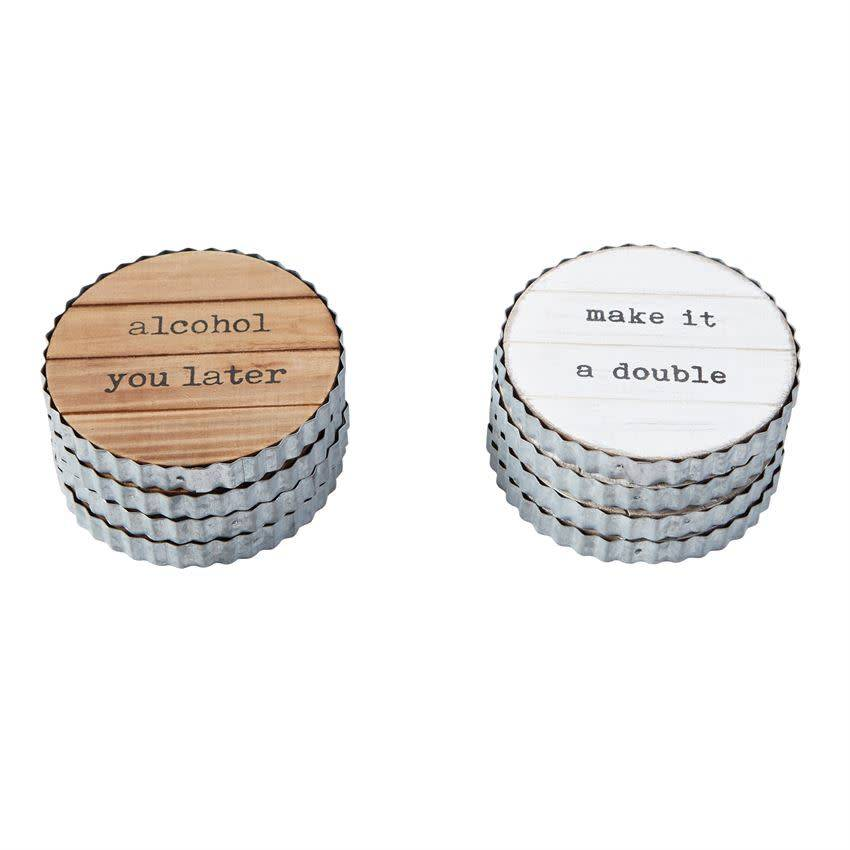 MUD PIE PLANKED WOOD & TIN COASTER SET