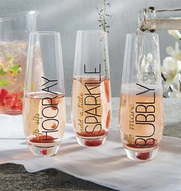 MUD PIE SENTIMENT STEMLESS CHAMPAGNE FLUTES
