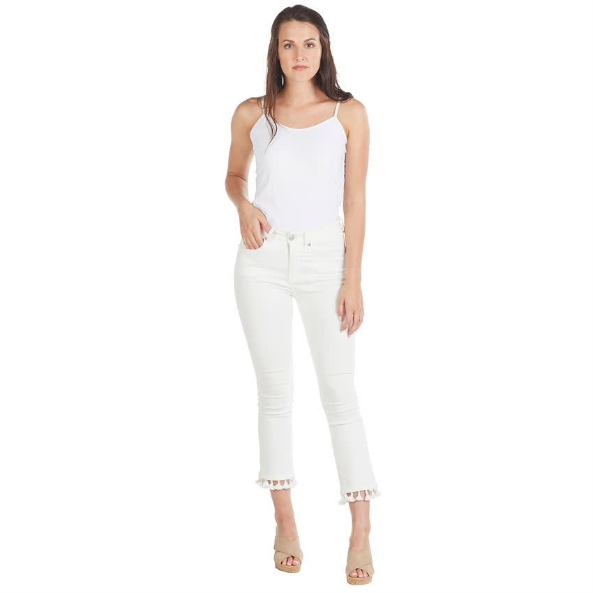 MUD PIE HARRISON TASSEL JEANS- WHITE