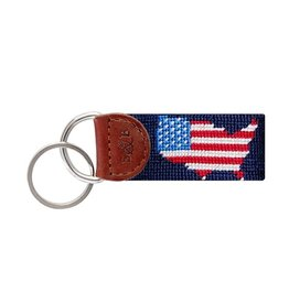 SMATHERS & BRANSON USA MAP NEEDLEPOINT KEY FOB