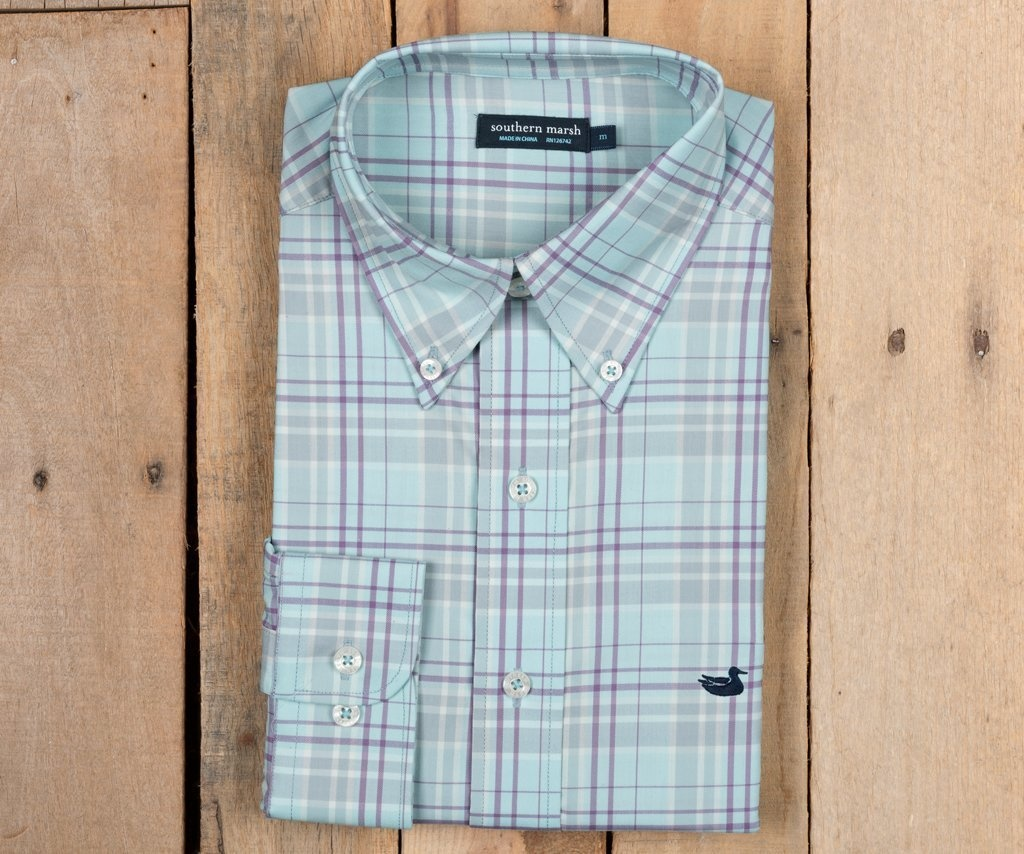 SOUTHERN MARSH LOUISVILLE PERFORMANCE WINDOWPANE SPORT SHIRT
