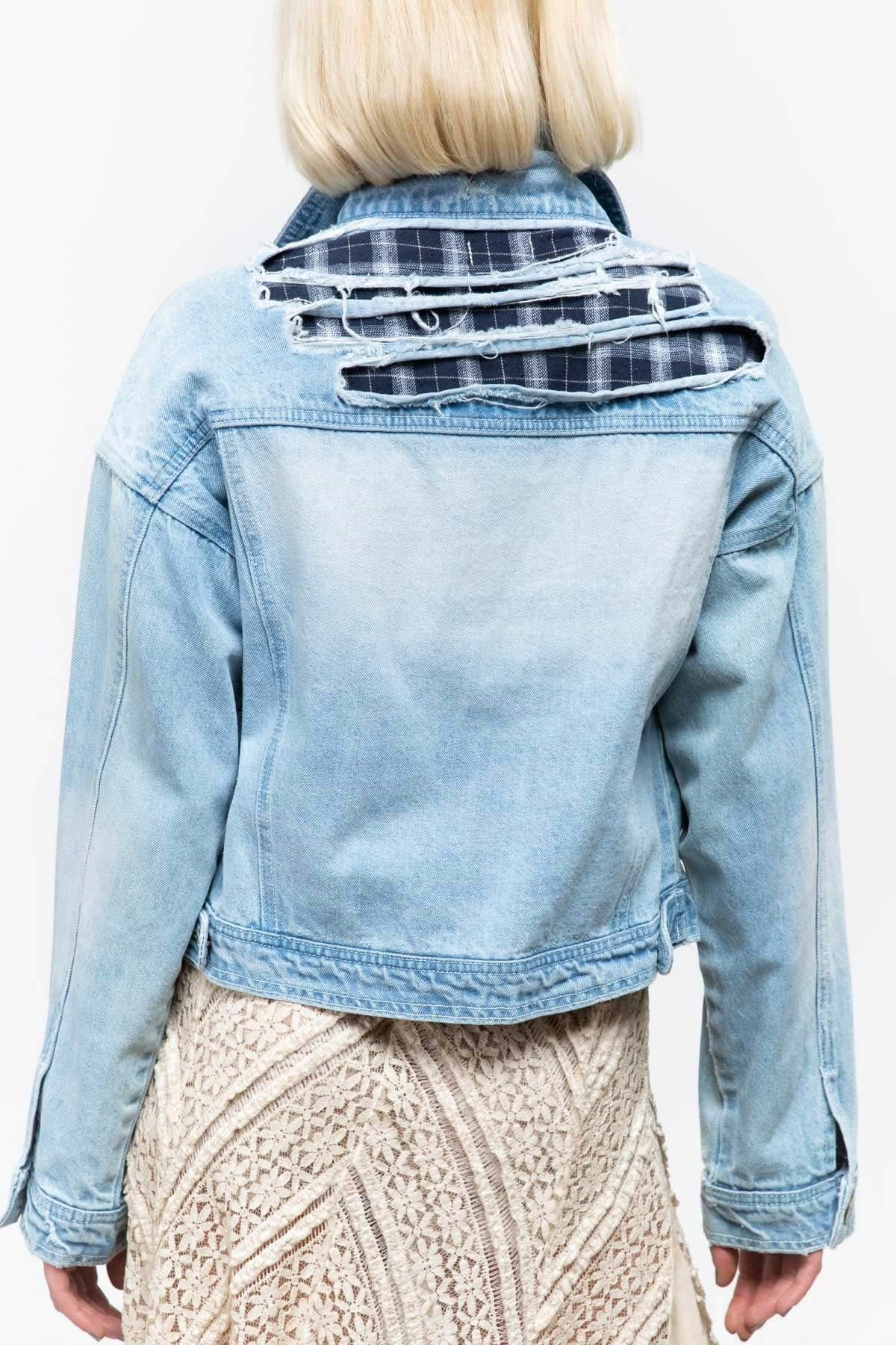 run shoes shades of huge selection of DISTRESSED DENIM JACKET W/PLAID AND RIPPED DETAIL