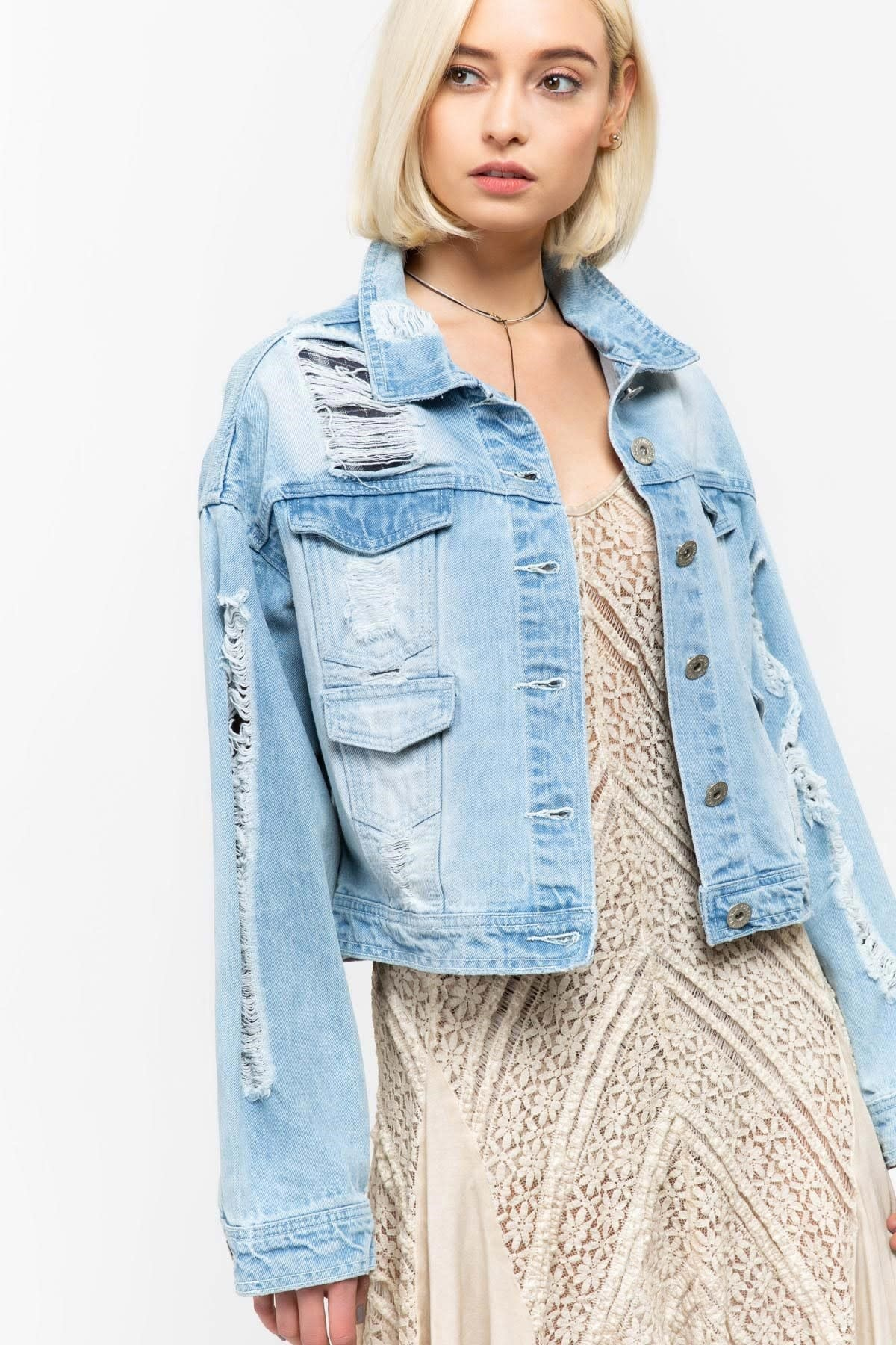 DISTRESSED DENIM JACKET W/PLAID AND RIPPED DETAIL