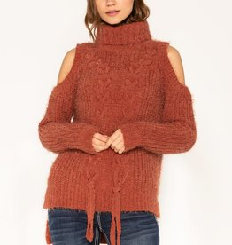 MISS ME ORANGE LACE-UP COLD SHOULDER TURTLENECK SWEATER