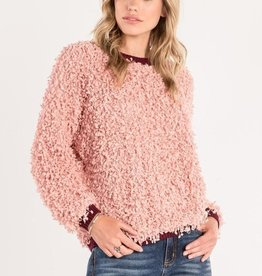 MISS ME RIBBED NECK BAND SWEATER