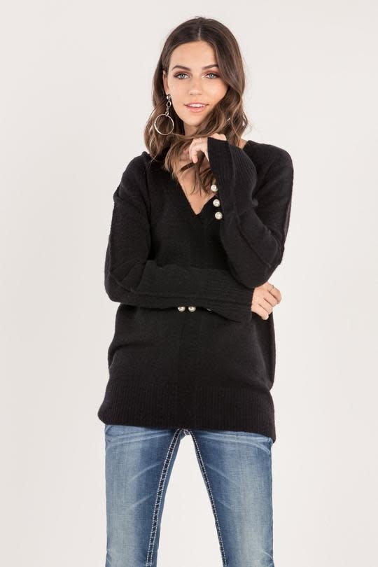 MISS ME VENTED CUFFS WITH PEARL ACCENT SWEATER