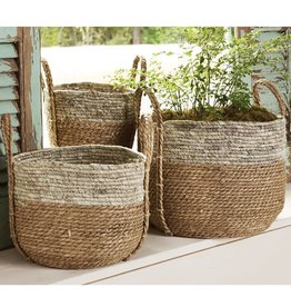MUD PIE TWO-TONE SEAGRASS BASKET SET