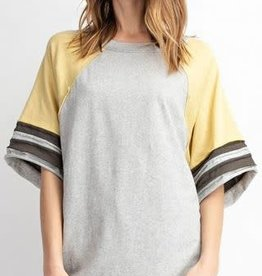 COLOR BLOCK COTTON KNIT ATHLETIC BOXY TOP