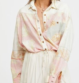 FREE PEOPLE CHASING WAVES BUTTON DOWN SHIRT
