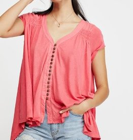 FREE PEOPLE HIGHLAND TEE- PINK