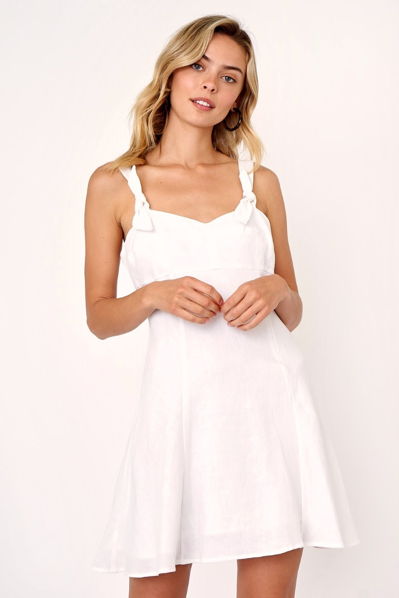 OLIVACEOUS WHITE LINEN FLARE DRESS W/TIE STRAPS