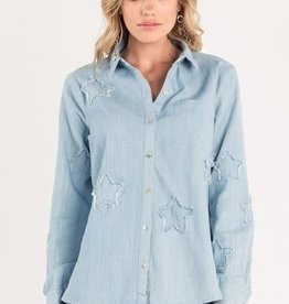 MISS ME STAR PATCH HI-LO BUTTONUP SHIRT