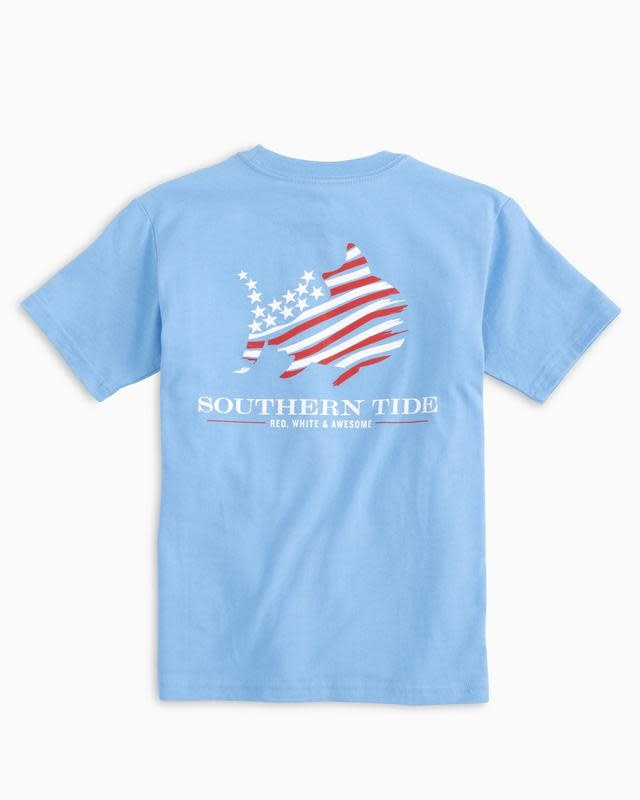 SOUTHERN TIDE YOUTH RED WHITE & AWESOME TEE