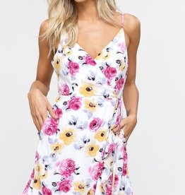 RUFFLE FLORAL WRAP DRESS IVORY