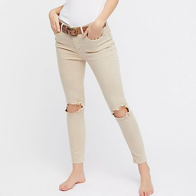 FREE PEOPLE JEAN BUSTED SKINNY KHAKI