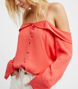 FREE PEOPLE WALK THIS WAY BUTTONDOWN OFF SHOULDER