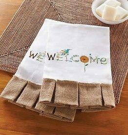 MUD PIE WELCOME GARDEN LINEN TOWEL