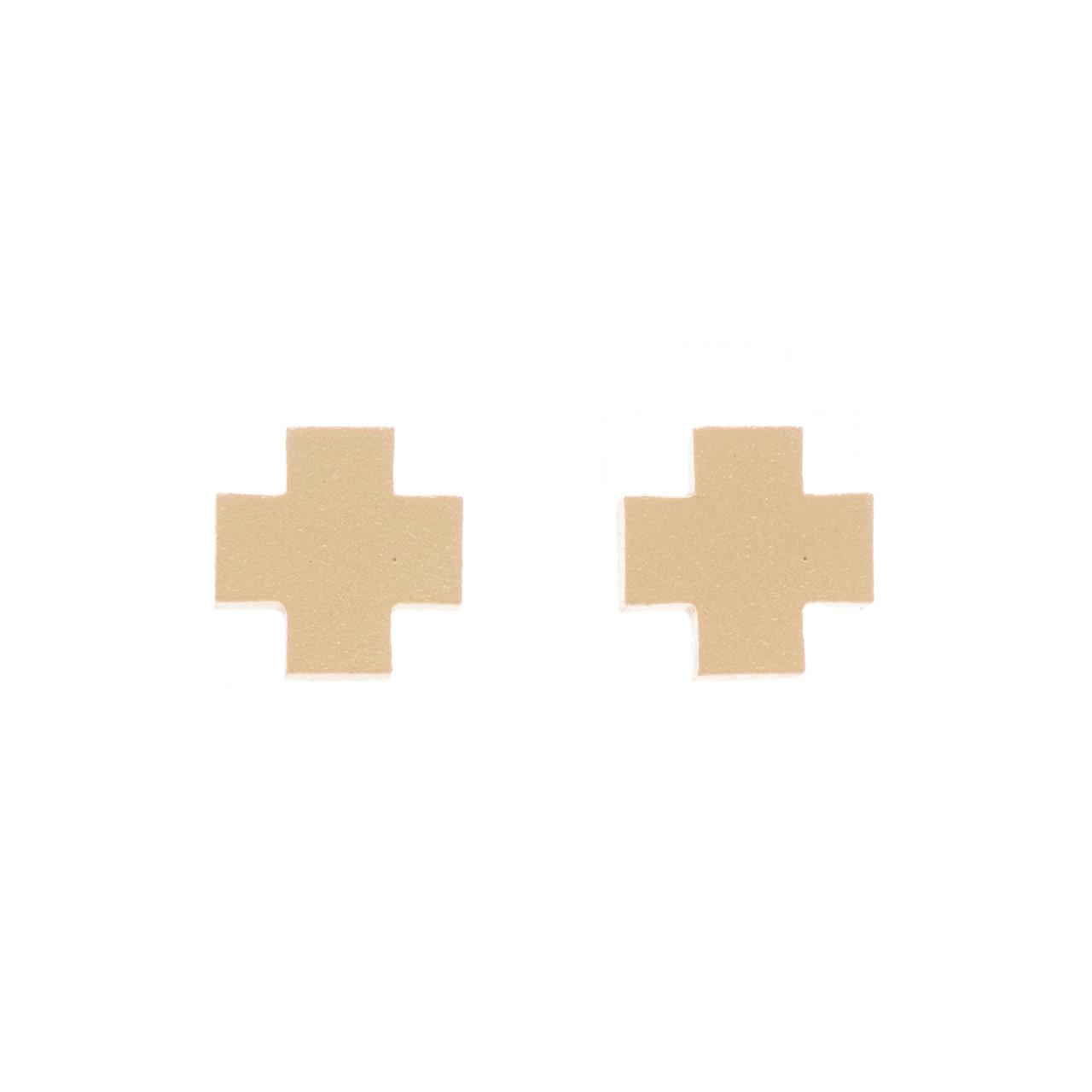 ENEWTON SIGNATURE CROSS STUD- MATTE GOLD