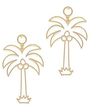 PALM TREE EARRINGS- GOLD