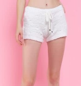 PLUSH BERBER FLEECE SHORTS- SNOW WHITE