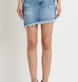 asymmetrical denim skirt w/frayed hem