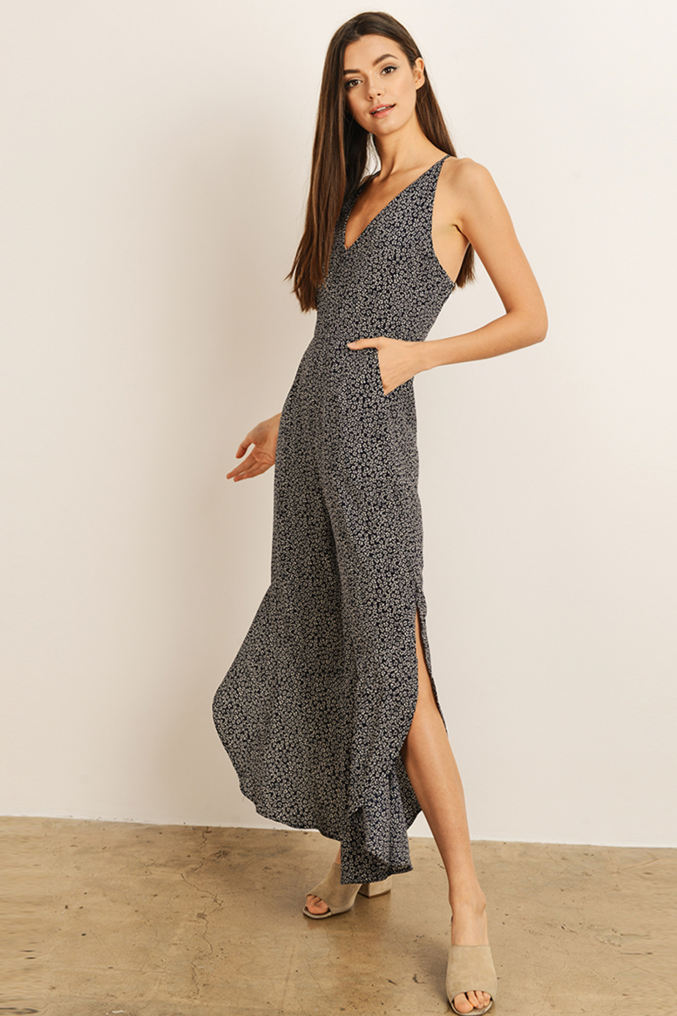 NAVY/WHITE PRINT JUMPSUIT