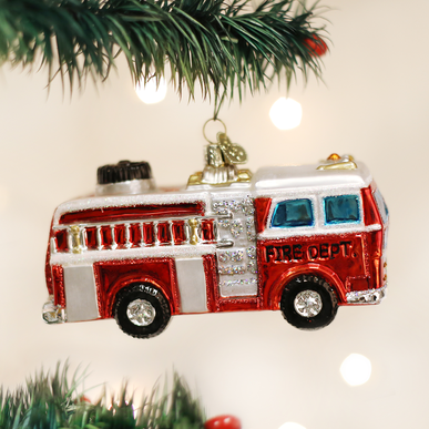 OLD WORLD CHRISTMAS firetruck ornament