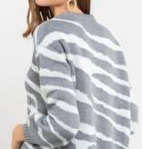 animal print striped sweater