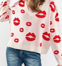 lip print sweater