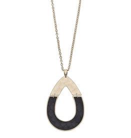 CANVAS harlow black python half teardrop pendant