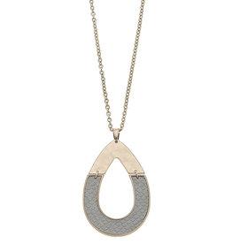 CANVAS harlow grey python half teardrop pendant