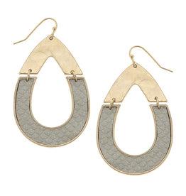CANVAS grey python half teardrop earring