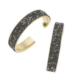 CANVAS quinn hoop earrings in hematite druzy