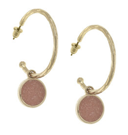 CANVAS pipa drop hoop earrings in blush druzy