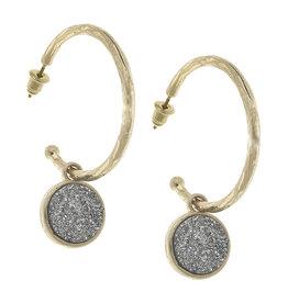 CANVAS pipa drop hoop earrings in hematite druzy