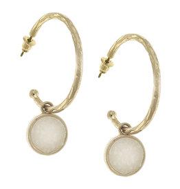 CANVAS pipa drop hoop earrings in ivory druzy