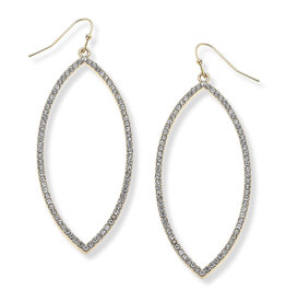 CANVAS lila pave drop earrings in worn gold