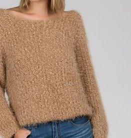 wide neck alpaca sweater with dolman sleeves