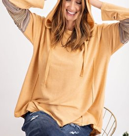 CAMEL HOODIE WITH WOVEN ARM ACCENTS