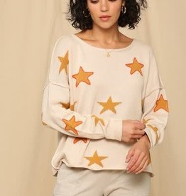 STAR PRINT SWEATER WITH COLOR OUTLINE STITCHING