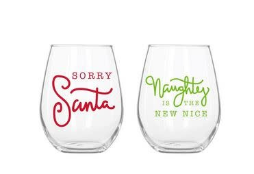 santa naughty acrylic wine glass set