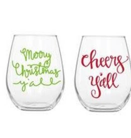 christmas cheers acrylic wine glass set