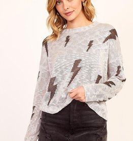OLIVACEOUS GREY LIGHTNING SWEATER