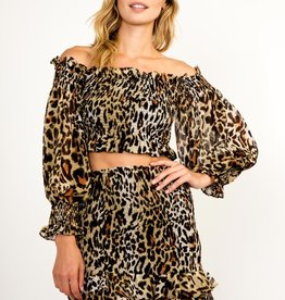 OLIVACEOUS LEOPARD OFF THE SHOULDER SMOCKED TOP