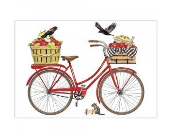 RED BIKE APPLE FLOUR SACK TOWEL