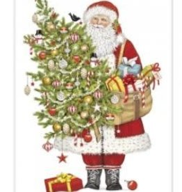 santa ornament tree flour sack towel