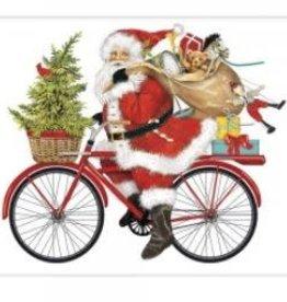 santa red bike flour sack towel